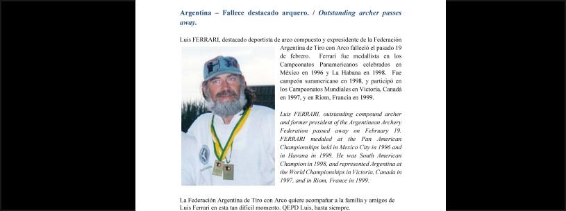 Fallece destacado arquero